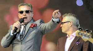 HEADED OUR WAY: Suggs and Mike Barson of Madness perform during the closing ceremony of the London Olympic Games.