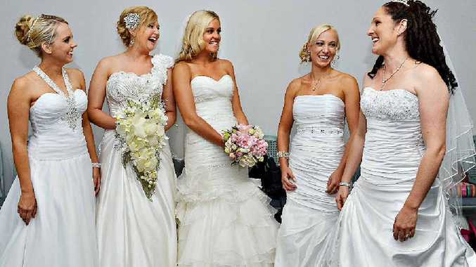 Bride of the Year winner Cassie Graf (left) with Kirsty Jensen, runner-up Lauren Hancock, Samantha Reynolds and Andrea Gauci at this year's competition.