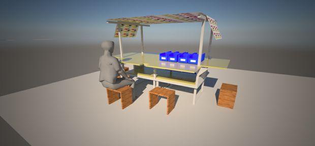 An artist's impression of the erected workshop trailer.