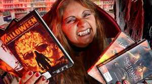 RIGHT SPIRIT: Manager of Video EZY Ipswich Marian Burns gets into the Halloween spirit.