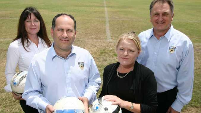 The CQFC management team (from left) marketing manager Cecilia Thompson, CEO Tony Xanda, director Sherylene Stevens and head coach Joe Fenech.
