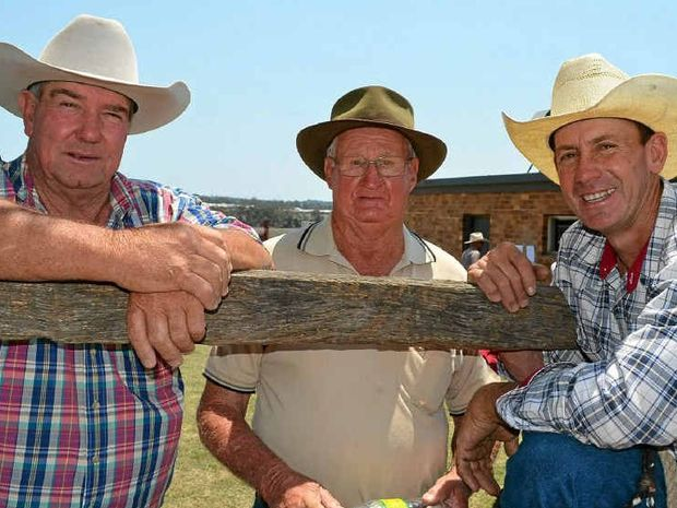 HORSE DEALS: Wayne Quinlan, Southbrook, with Neville Bell, Tarome and Stuart Grayson, Yangan, catch up at the annual Warwick horse sale.