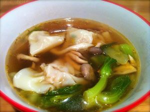 Wonton soup with Asian mushrooms and bok choy