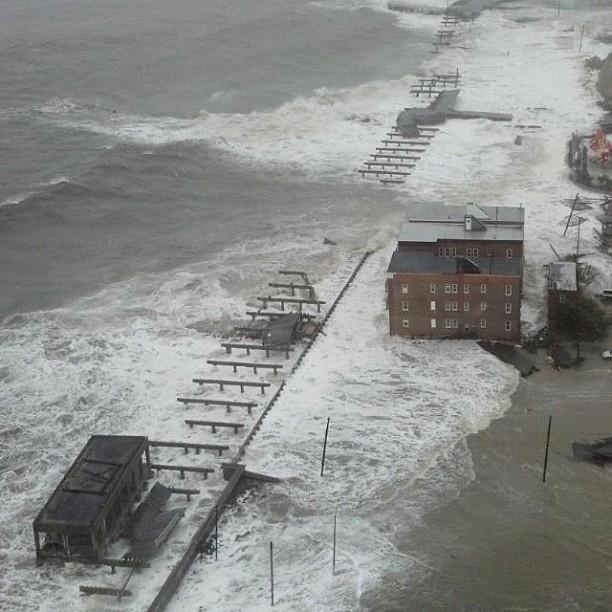 The Atlantic City boardwalk  is taken out as big seas surge ahead of Hurricane Sandy.