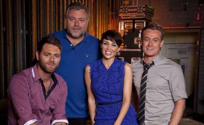 Australia's Got Talent judges, from left, Brian McFadden, Kyle Sandilands and Dannii Minogue with host Grant Denyer.
