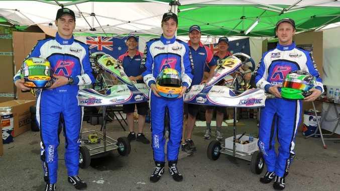 The Kosmic Racing Australia team in Macau, including Gladstone driver Cian Fothergill (far right).