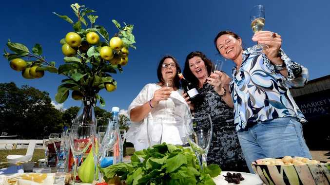 L to R Kerry Turner, Toni Zuschke and Lisa Flower. Caldera farmers markets. Launch of Foodie festival. Photo: John Gass / Daily News
