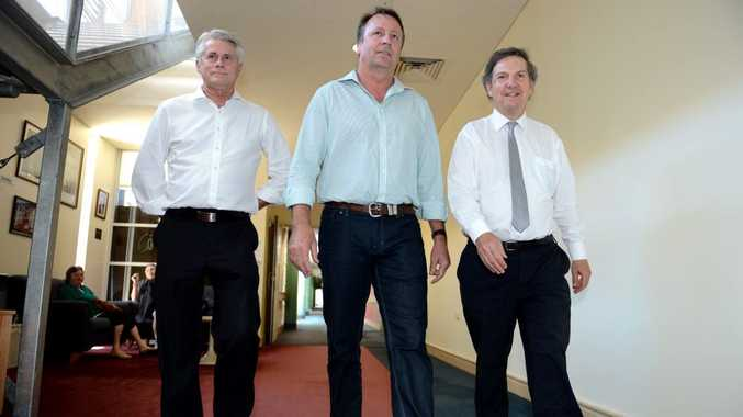Tweed MP Geoff Provest, Minister Kevin Humphries and Tweed Hospital CEO Chris Crawford walking the halls of the Tweed Hospital.