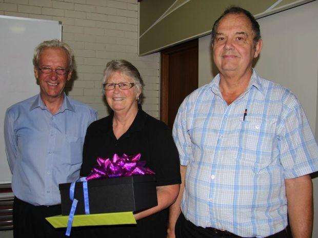 Tweed Shire mayor Barry Longland farewells Joyce and David Martain.