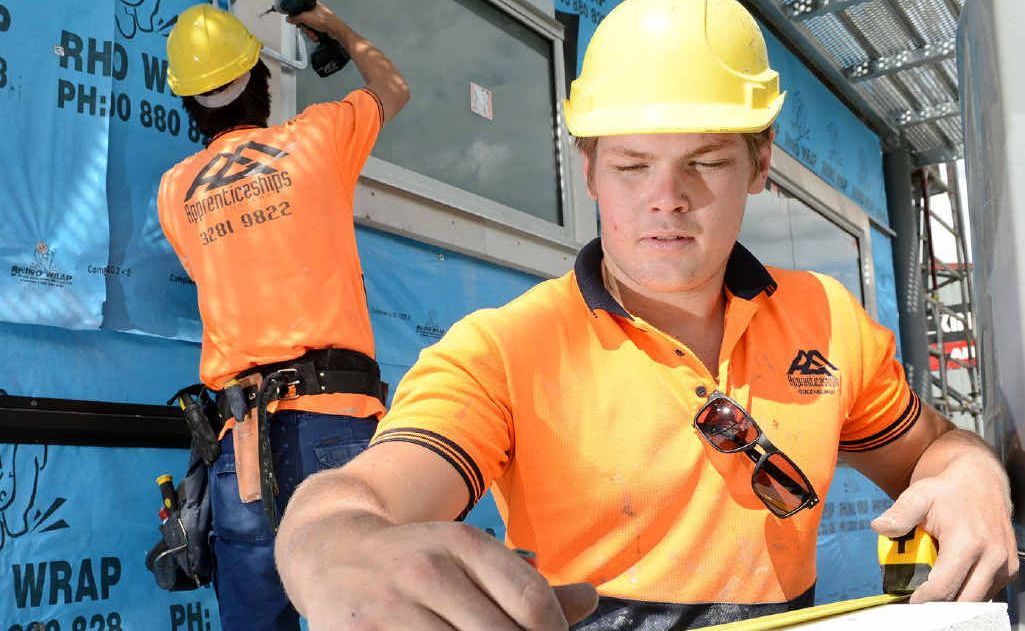 TRADES FLOURISH: Apprentice carpenter Jye Hinton works in West Ipswich.