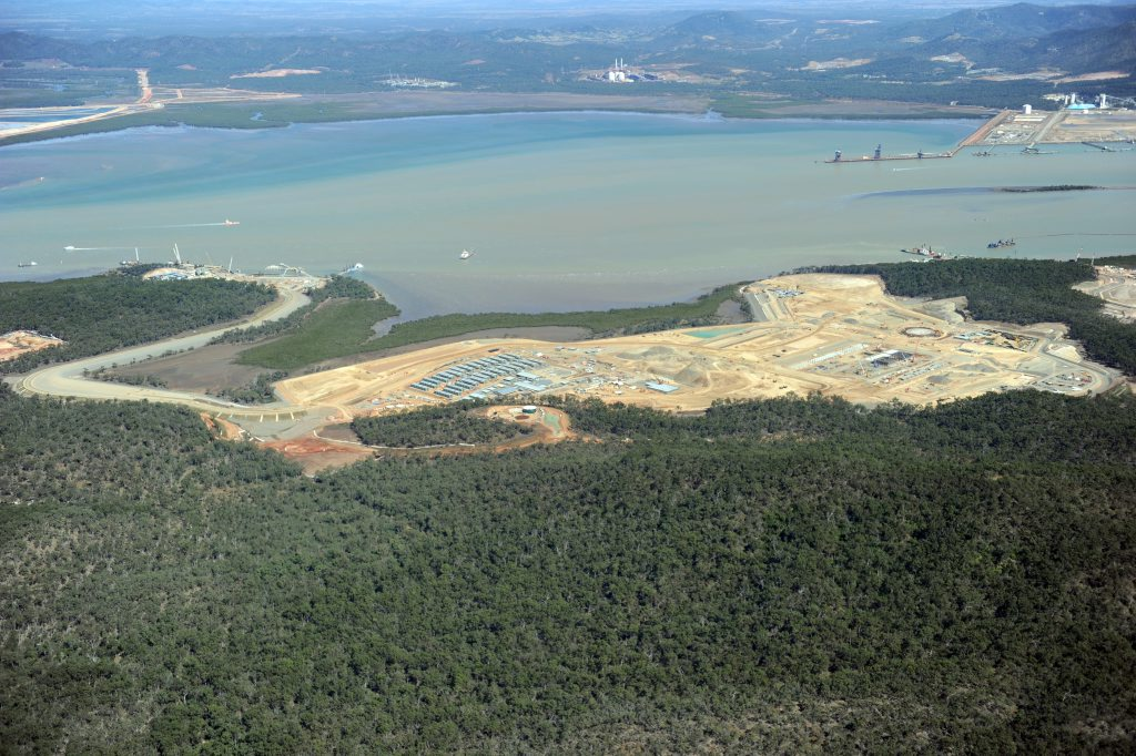 AN aerial view of the QCLNG site on Curtis Island.