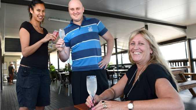 Chinderah Tavern. L to R Loise Wharekawa, Alan Sharkey and Kim Sands. Photo: John Gass / Daily News