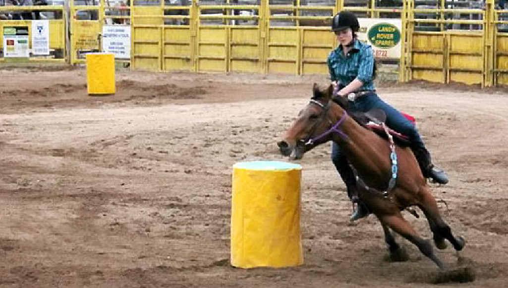Horse rider Michaela Dodt puts her barrel racing best on display.