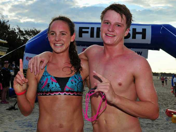 Jordan Mercer and Robbie Hayes make it a Noosa Heads double in the opening event of the Noosa Triathlon Multi Sport Festival.