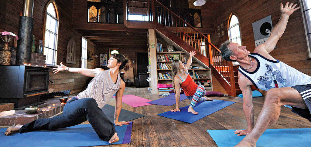 FIND NEW LEVEL OF PEACE: Yoga in the restored church.