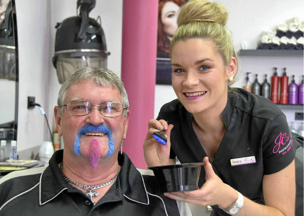 Bill Doran was brave enough to have his beard dyed by Jessica Carey of JC's Inspirational Hair, as they raise money for prostate cancer.