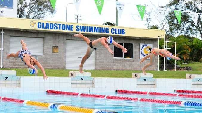Gladstone Gladiators are holding the Liquid Energy Swim Meet this weekend. Jacinta Thefts, Patrick Crowe and Gretel Waugh dive off the blocks.