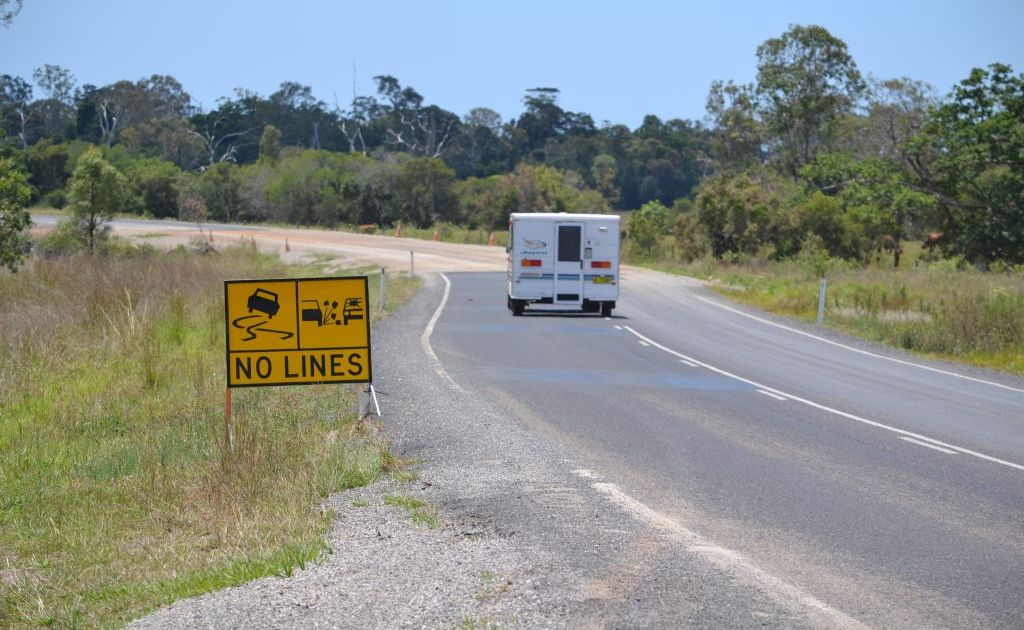 Another visitor to the Gladstone region hits the potholes on the way in to Agnes Water.