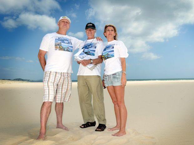 Rally at Kirra beach. L to R Jim Wilson, John Standing and Debra Duncan. Photo: John Gass / Daily News