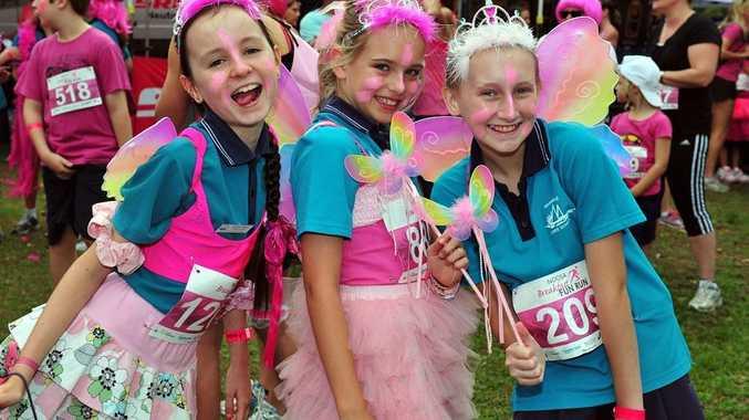 Noosa Breakfast Fun Run. (L-R) Annika, Jaime and Rebekah from Noosaville State School took part in the Fun Run. Photo Geoff Potter / Noosa News.