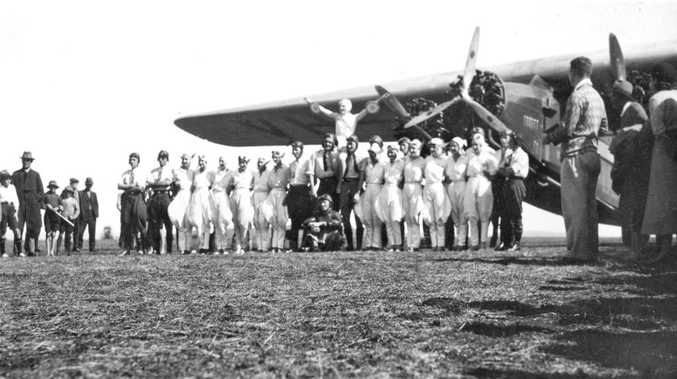 Sir Charles Kingsford Smith and the his plane, the Southern Cross (these days on display near Brisbane airport) at Toowoomba. Members of the Ballina Aero Club has chosen the anniversary of Sir Charles' Ballina landing - June 7, 1928 - for the dedication of their new clubhouse.