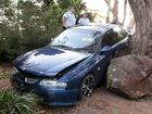 Commodore crashes down into garden bed near Picnic Point restaurant. Photo Nev Madsen / The Chronicle