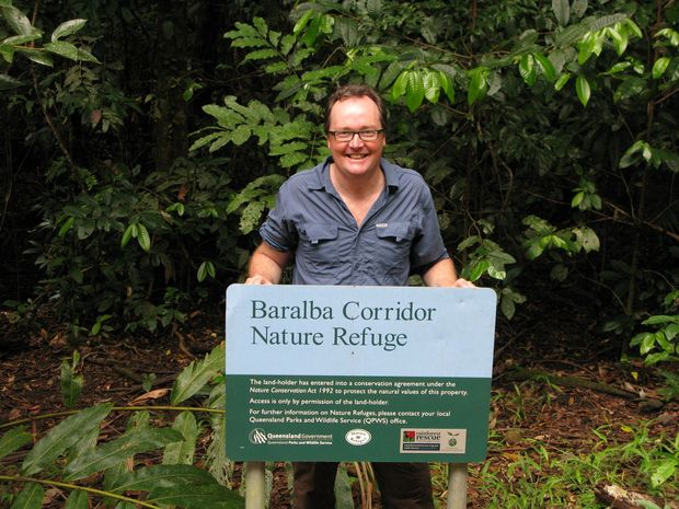 Rainforest Rescue chief executive officer Kelvin Davies with one of the wildlife corridors the organisation has created by buying up, with funds donated by the community, land that would otherwise be developed for things such as housing.
