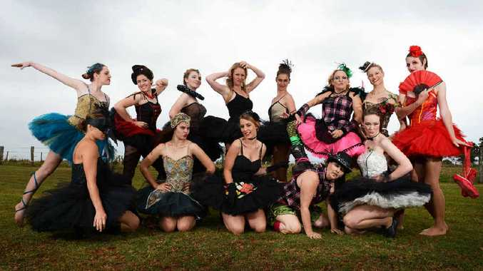 GLAMOUR TURNOUT: Models and students from Wollongbar TAFE parade their colourful creations at yesterday's student-planned activity, the Tutu Review.