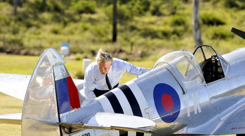 Terry Kronk with his Spitfire replica in preparation for the Air and Land Spectacular at Emu Gully.