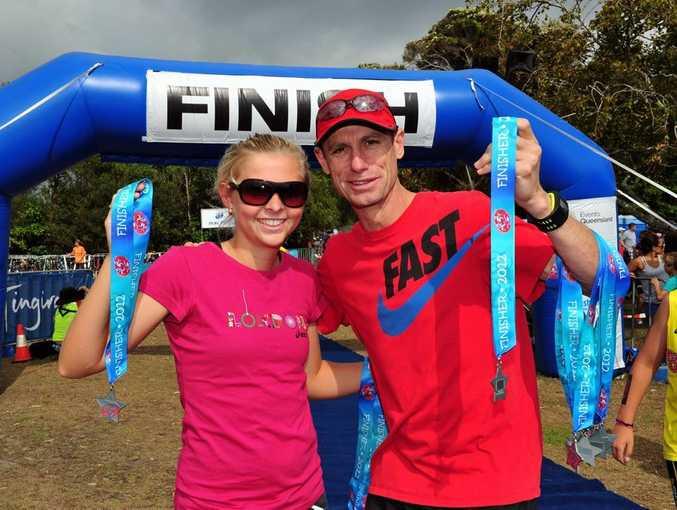 Former Noosa Triathlon winner Emma Jackson and Australian Marathon Legend Steve Monaghetti handed out the medals at the Noosa Superkidz and Tingirana Noosa Special Triathlons.
