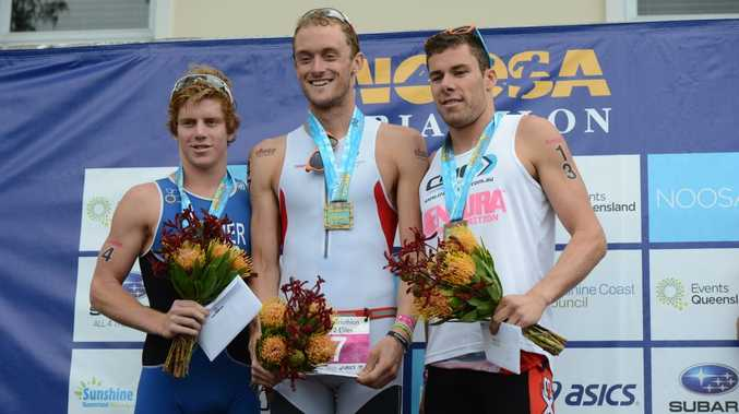 2012 Noosa Triathlon (l-r) Ryan Fischer (2nd place ), Peter Kerr (winner) and Cecil Taylor (3rd place) Photo:Warren Lynam / Sunshine Coast Daily
