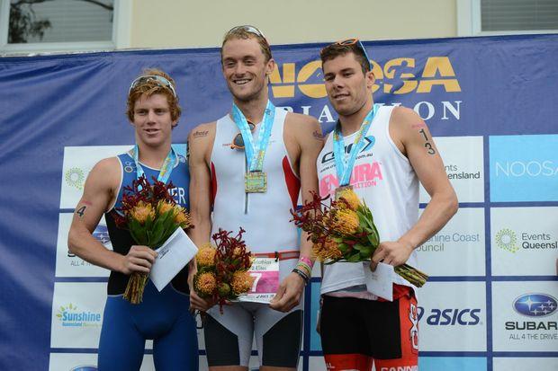 2012 Noosa Triathlon (l-r) Ryan Fischer (2nd place ), Peter Kerr (winner) and Cecil Taylor (3rd place) Photo:Warren Lynam / Sunshine Coast Daily