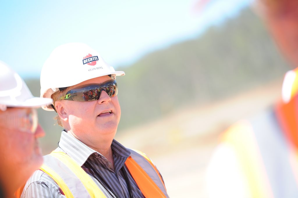 Bechtel's general manager in Gladstone Kevin Berg on the GLNG site tour of Curtis Island.