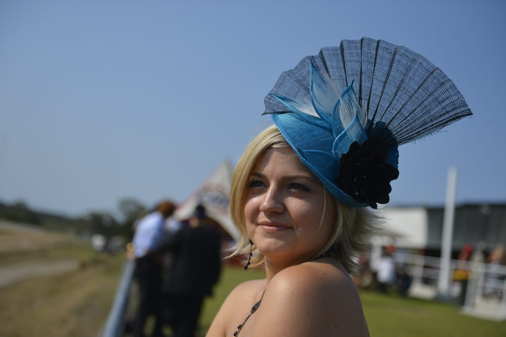 Heidi Schumacher shows her style at the Cox Plate Race Day at Gladstone Turf Club.