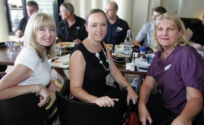 Faith Beaumont, Sophie Lever and Robyn Crommelin at the SCBA breakfast at Coolum's Sunrise Cafe.