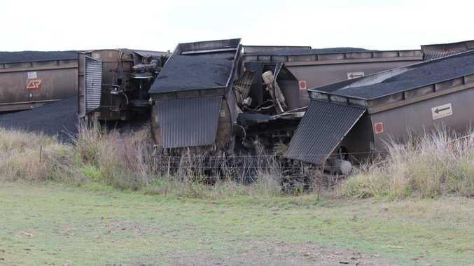 A train carrying coal derailed on the Moura short line near Biloela. Photo Central Telegraph