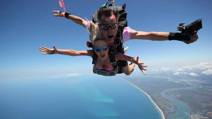 Lucie Prochazkova on her skydive with Sunshine Coast Skydivers owner Tibor Glesk.