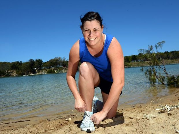 Bianca Prendergast getting ready for the Kingy walk/run/swim. Photo: John Gass / Daily News