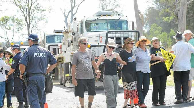ONGOING ACTION: CSG protesters, not connected with Metgasco's claim of theft, witness the seismic mapping of the area by Metgasco at Hockeys La in Casino along Ellangowan Rd. Metgasco has provided The Northern Star with a copy of photos it says identify people alleged to have stolen equipment, but only on the proviso they not be published.