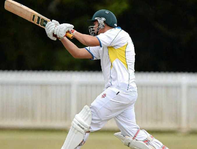 Nambour batsman Sam Parson on the attack against Hinterland at Palmwoods.