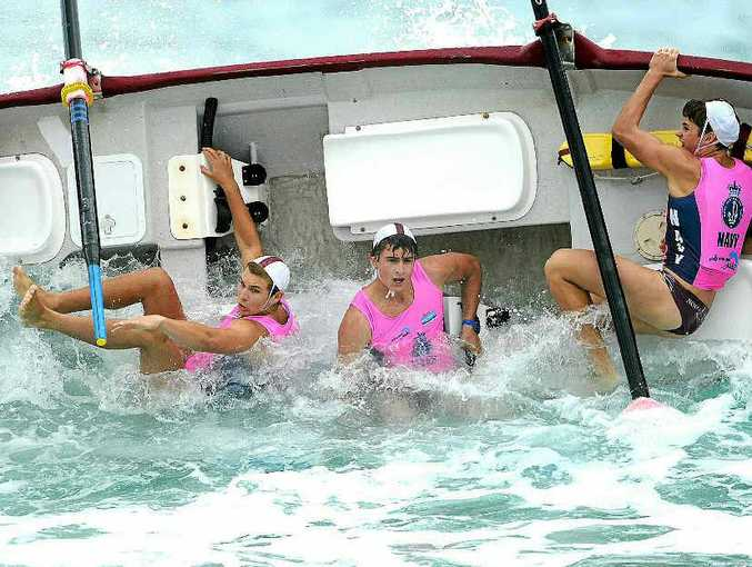 Noosa's under-19 men's crew comes a cropper in spectacular fashion at round one of the Navy Australian Surf Rowers League at Surfers Paradise on Saturday.