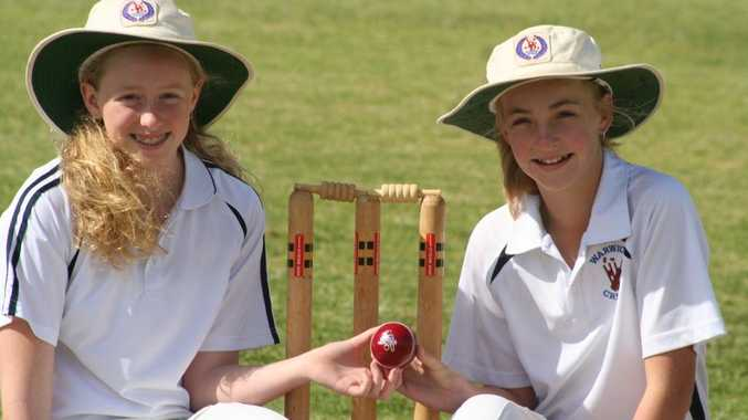 Catherine Welsh and Lily Maw played for Darling Downs in the state championships in primary school cricket.