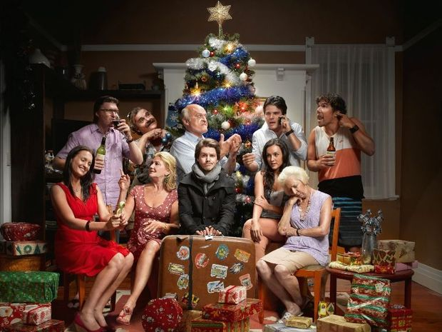 The cast of the comedy series A Moody Christmas.