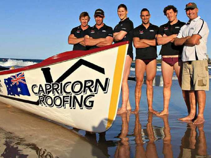 Mooloolaba open men's surf boat crew to contest the Ocean Thunder series first round in Sydney on Saturday is (from left) Chris Compton, Grant Cooper, Andrew Kerr, Matt Miller, John Mueleners and Mick Allwood.