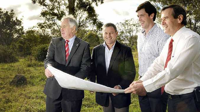 INVESTOR CONFIDENCE: At the development site yesterday are (from left) Cr Paul Antonio, Don O'Rorke, Edward Hodge and Stewart Somers.