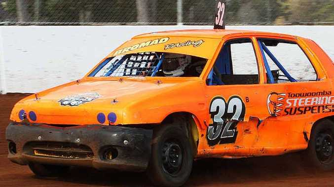 RELAUNCH: Brody Fraser-McGee tears up the Lockyer Valley Speedway in his junior sedan.