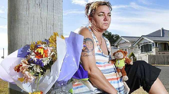 STILL GRIEVING: Paula Matthews, mother of stabbing victim Brandon Matthews, at the scene of his death.
