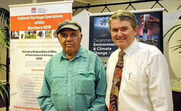 SPECIAL PLACE: Uncle Lewis Cook and Ballina MP Don Page mark the dedication of parts of East Ballina where a massacre occurred as an Aboriginal Special Place.