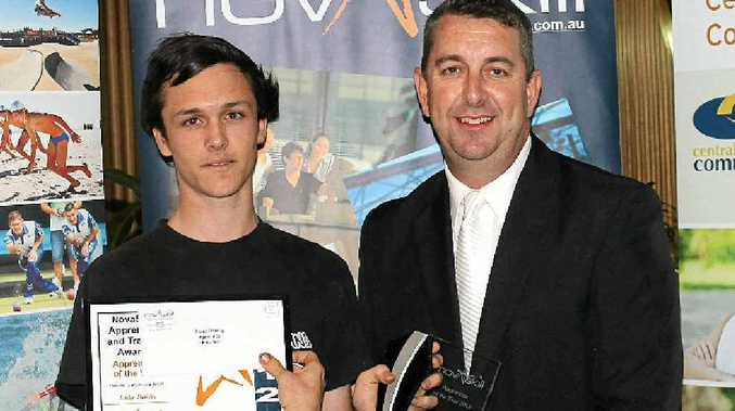 MASTER APPRENTICE: NovaSkill Apprentice of the Year Luke Dobbs, a mechanical fitter at Ingham Enterprises, presented with his award by Ballina Shire Advocate media sales manager Alf Boston.