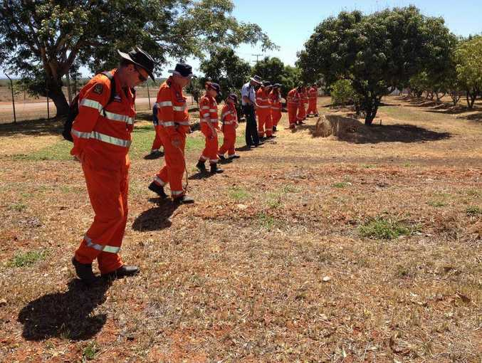 SES volunteers conduct a search.
